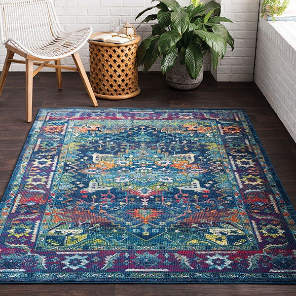 Sky Blue, Bright Pink, Black, Red, Lime, Saffron Traditional / Oriental Area Rug