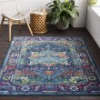 Product Image of Sky Blue, Bright Pink, Black, Red, Lime, Saffron Traditional / Oriental Area Rug