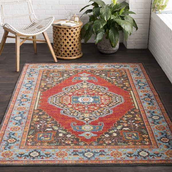 Sky Blue, Rose, Bright Pink, White, Dark Green Traditional / Oriental Area Rug