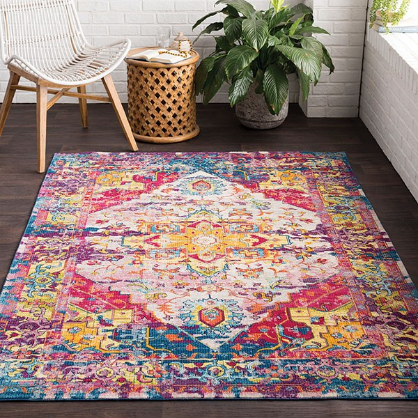 Saffron, Rose, Bright Pink, Navy, Lime Traditional / Oriental Area Rug