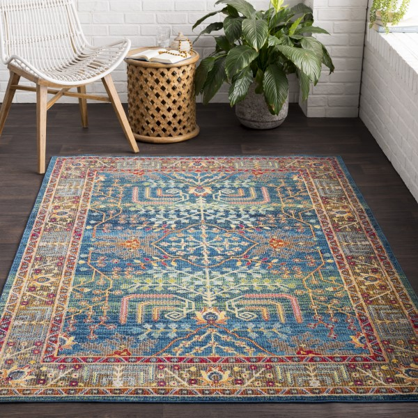 Bright Blue, Sky Blue, Lime, Bright Pink, Saffron Traditional / Oriental Area Rug