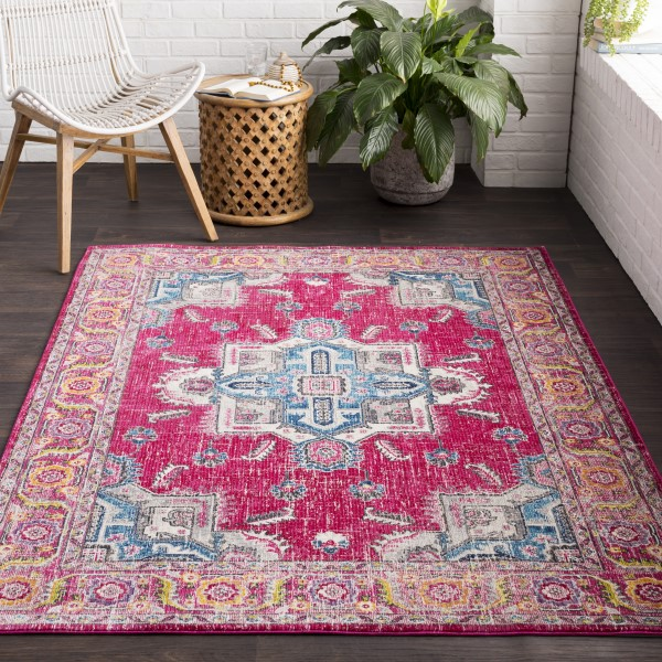 Bright Pink, Rose, Sky Blue, Lime, Beige, Grey Traditional / Oriental Area Rug
