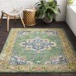 Product Image of Lime, Sky Blue, Dark Green, White, Saffron, Pink Traditional / Oriental Area Rug