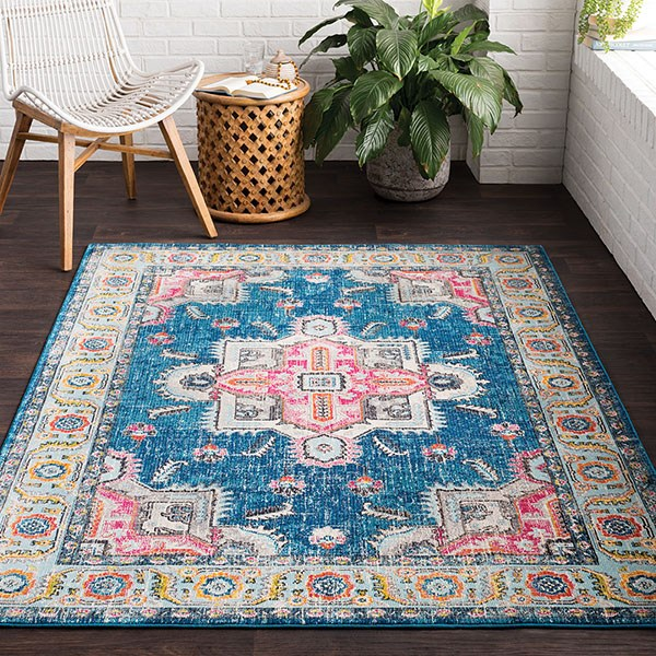 Sky Blue, Bright Blue, Rose, Charocal, White, Lime Traditional / Oriental Area Rug