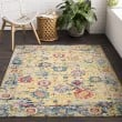 Product Image of Bright Yellow, White, Lime, Sky Blue, Rose, Black Traditional / Oriental Area Rug