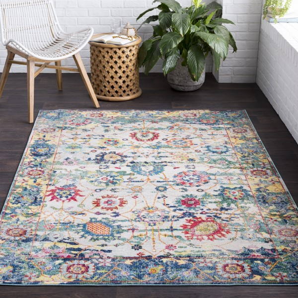 Medium Grey, Sky Blue, Rose, Lime, Safron, White Traditional / Oriental Area Rug