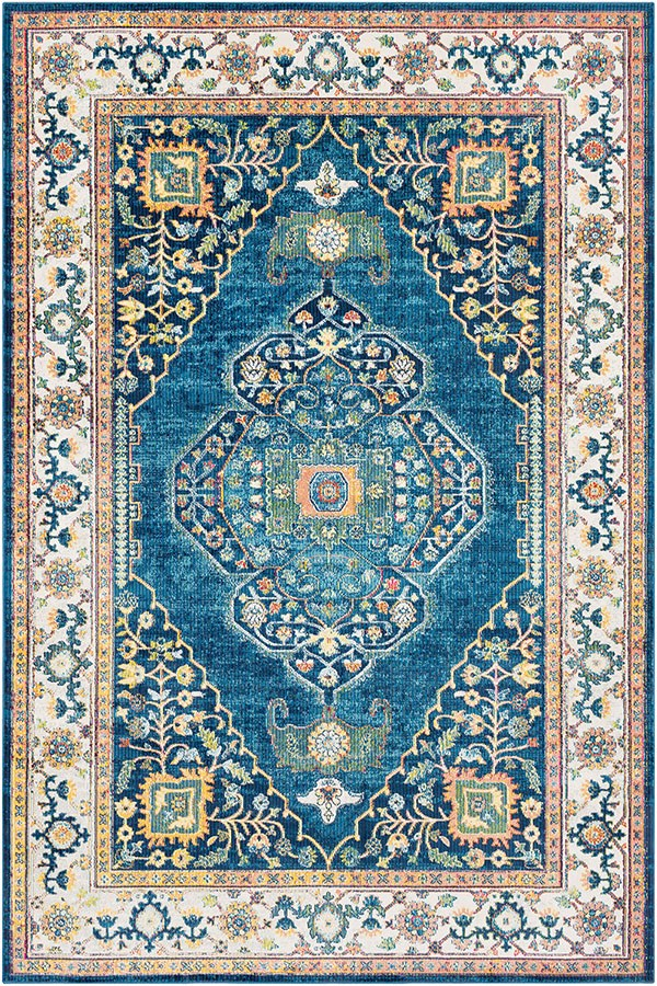 Sky Blue, Bright Blue, Saffron, Lime, Pink, Navy Traditional / Oriental Area Rug