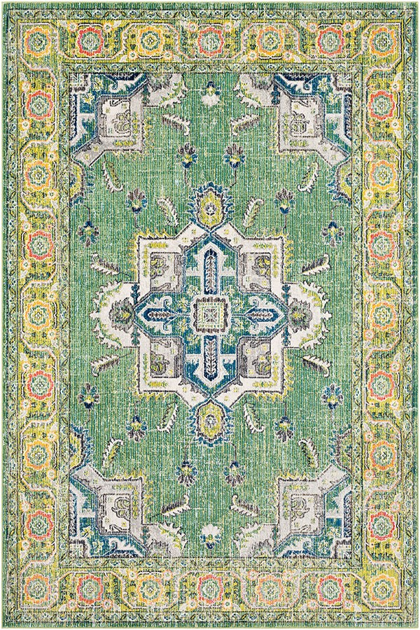 Lime, Sky Blue, Dark Green, White, Saffron, Pink Traditional / Oriental Area Rug
