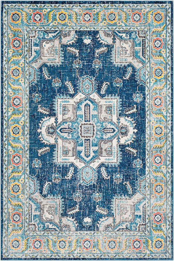 Sky Blue, Bright Blue, Navy, Medium Grey, White Traditional / Oriental Area Rug