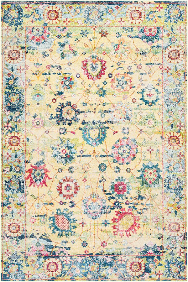 Bright Yellow, White, Lime, Sky Blue, Rose, Black Traditional / Oriental Area Rug