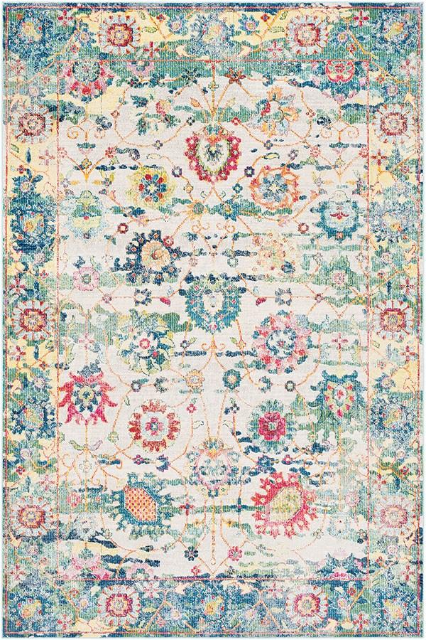 Medium Grey, Sky Blue, Rose, Lime, Safron, White Traditional / Oriental Area Rug