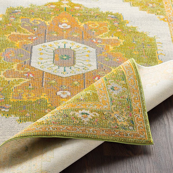 Lime, Dark Green Traditional / Oriental Area Rug