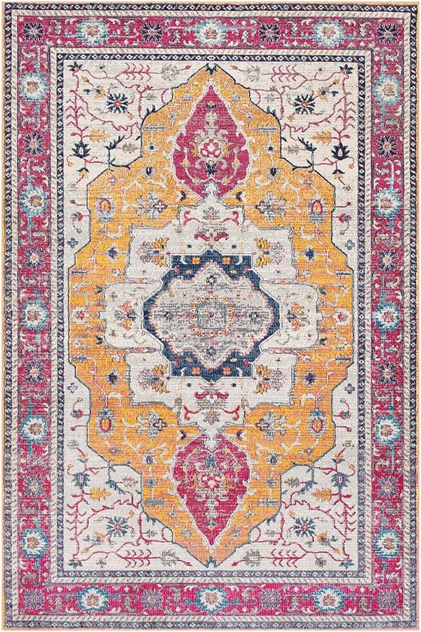 Saffron, Bright Pink Traditional / Oriental Area Rug