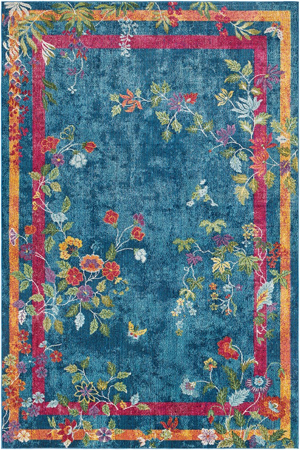 Sky Blue, Bright Blue, Navy Floral / Botanical Area Rug