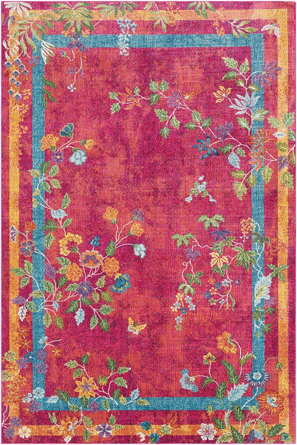 Bright Pink, Bright Red, Rose Floral / Botanical Area Rug