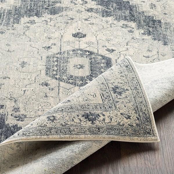 Medium Gray, Charcoal, Black Traditional / Oriental Area Rug