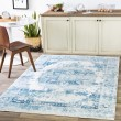 Product Image of Sky Blue, Bright Blue Vintage / Overdyed Area Rug