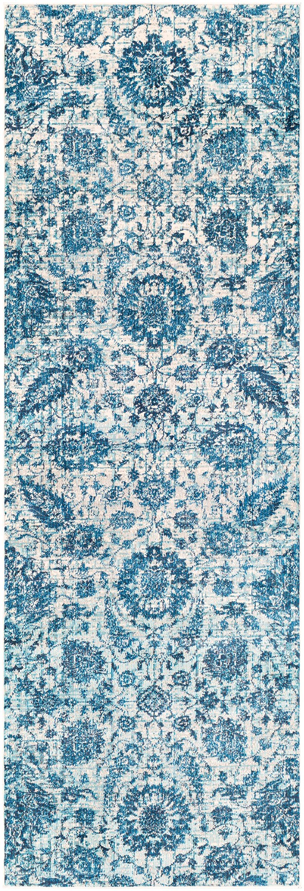 Sky Blue, Bright Blue, Navy Traditional / Oriental Area Rug