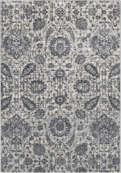 Medium Gray, Charcoal, White Traditional / Oriental Area Rug
