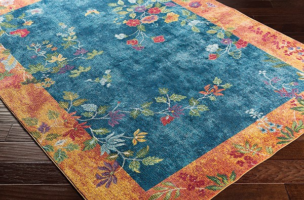 Bright Blue, Navy, Bright Yellow Floral / Botanical Area Rug
