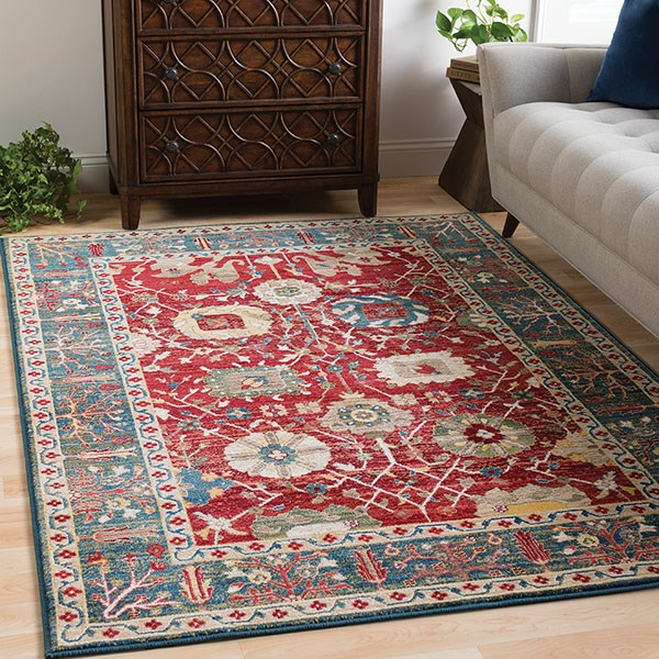 Dark Red, Burnt Orange, Navy, Olive, Khaki, White Traditional / Oriental Area Rug