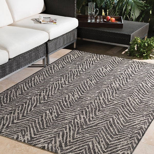 Grey, Black, White (TNG-2321) Outdoor / Indoor Area Rug