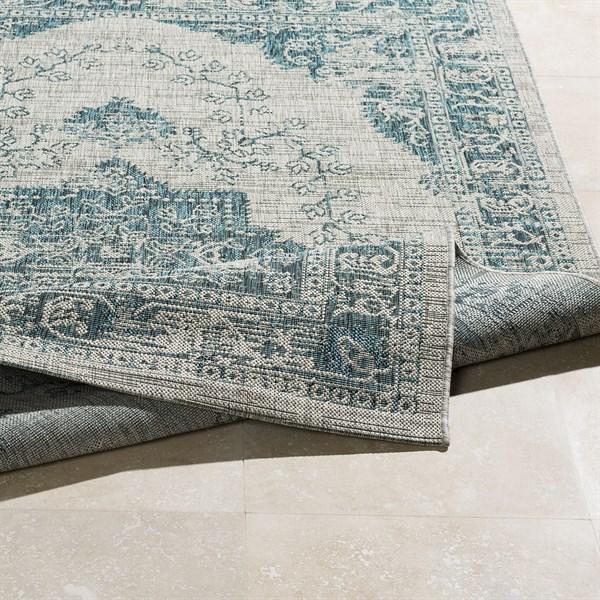 White, Light Grey, Aqua (TNG-2302) Outdoor / Indoor Area Rug