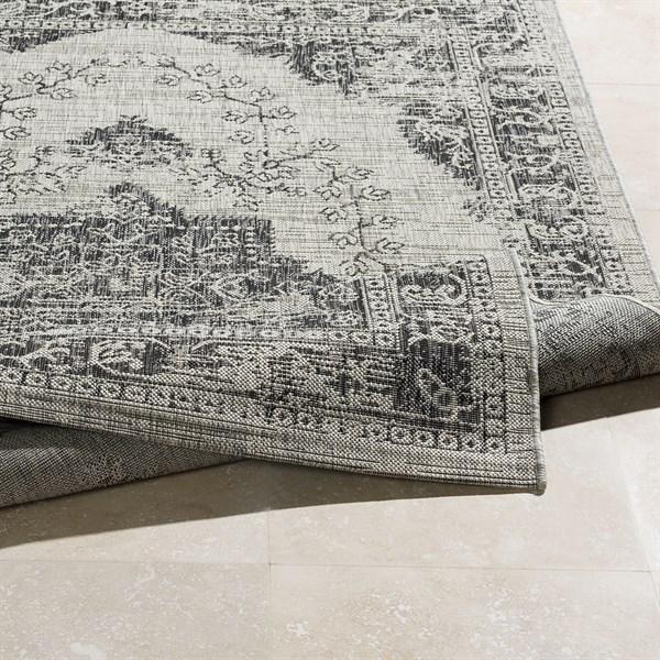 Grey, Black, White (TNG-2304) Outdoor / Indoor Area Rug