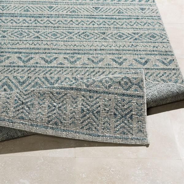 Light Grey, Aqua, White (TNG-2307) Outdoor / Indoor Area Rug