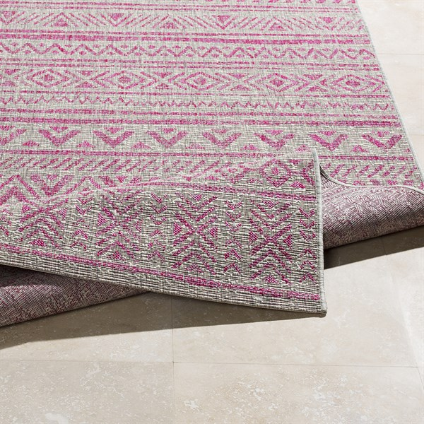 Light Grey, Pink, White (TNG-2308) Outdoor / Indoor Area Rug