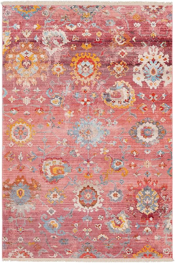 Pale Pink, Rose, Saffron, Burnt Orange, Aqua Vintage / Overdyed Area Rug