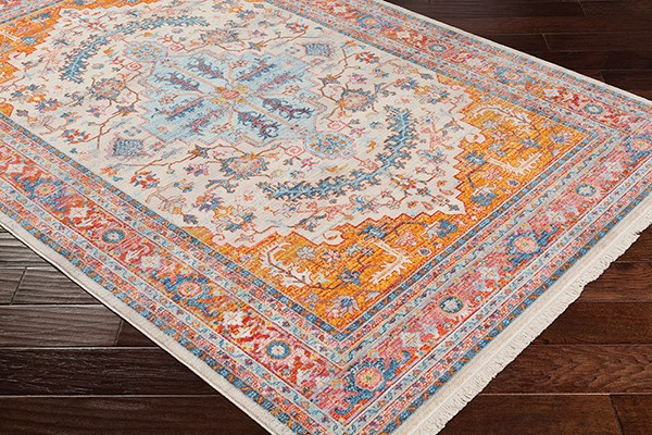 Aqua, Saffron, Burnt Orange Traditional / Oriental Area Rug