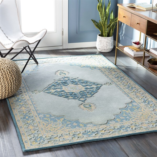 Sage, Teal, Khaki, Bright Yellow (FIR-1004) Traditional / Oriental Area Rug