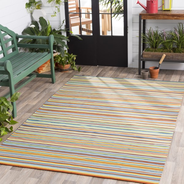 Dark Blue, Lime, Taupe, Burnt Orange (MTM-1002) Outdoor / Indoor Area Rug