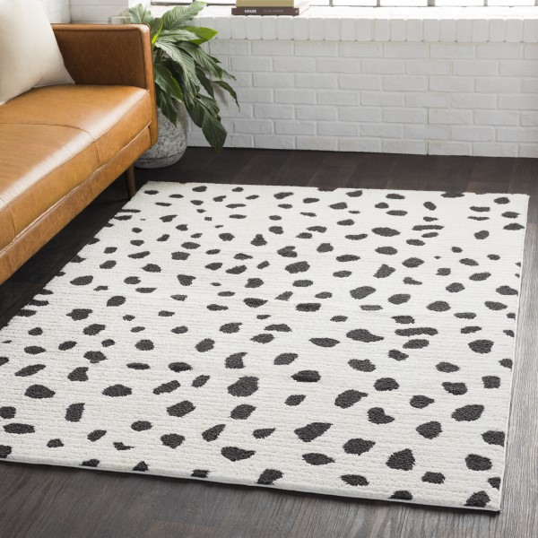 White, Black, Charcoal Shag Area Rug