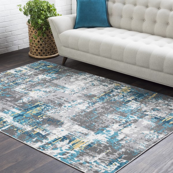 Medium Grey, Charcoal, Teal, Saffron, White Abstract Area Rug