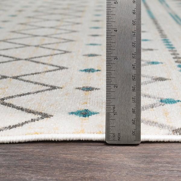 Teal, Butter, Medium Gray Moroccan Area Rug