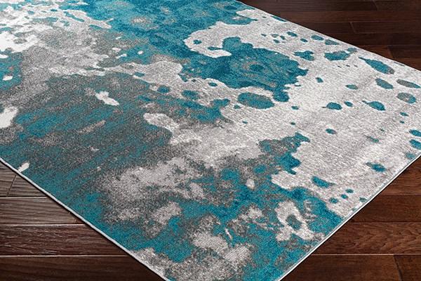 Teal, Medium Gray Abstract Area Rug
