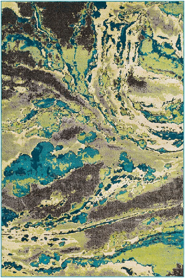 Lime, Butter, Teal Abstract Area Rug