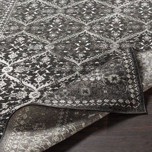 Charcoal, Black, Medium Traditional / Oriental Area Rug