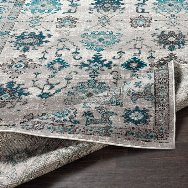 Teal, Medium Gray Traditional / Oriental Area Rug
