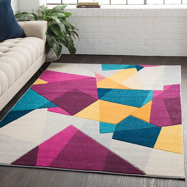 Dark Purple, Light Grey, Saffron, Aqua, White Contemporary / Modern Area Rug