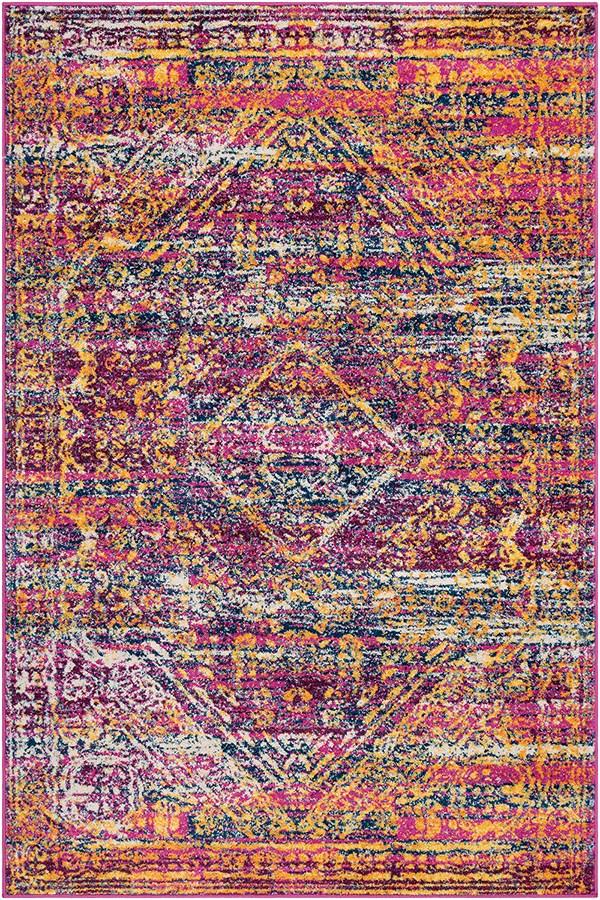 Bright Pink, Blue, White, Purple, Aqua, Saffron Bohemian Area Rug