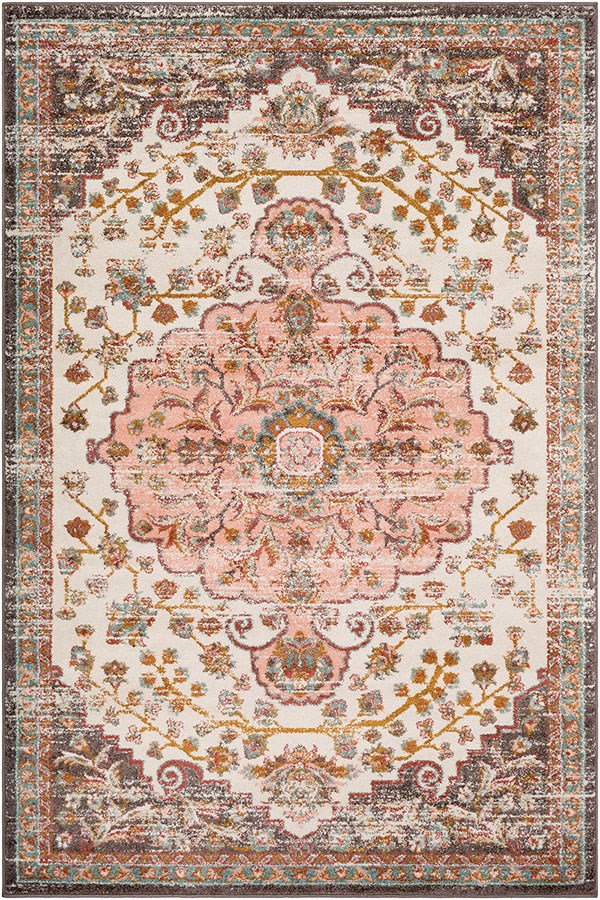 Peach, White, Charcoal, Rust, Sage, Camel Vintage / Overdyed Area Rug