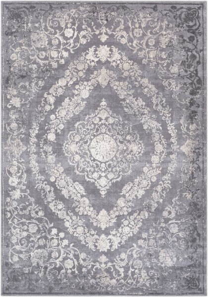 Medium Grey, Charcoal, Cream, Khaki Traditional / Oriental Area Rug