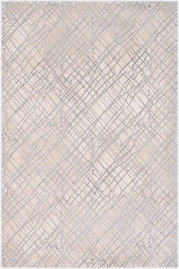 Medium Grey, Cream, Taupe, Charcoal Contemporary / Modern Area Rug