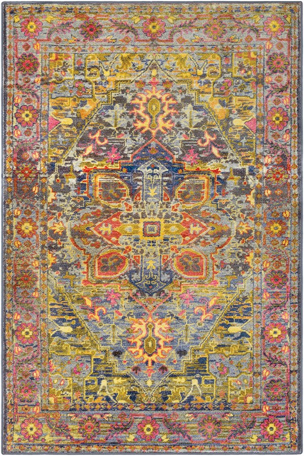 Lime, Yellow, Medium Grey, Pink, Blue, Red, Olive Bohemian Area Rug