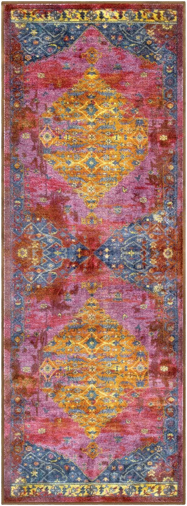Lilac, Dark Purple, Red, Yellow, Pink, Dark Blue Bohemian Area Rug