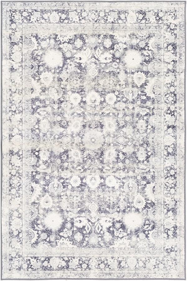 Medium Gray, Black, White Vintage / Overdyed Area Rug