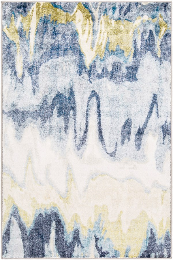 Olive, White, Medium Gray Abstract Area Rug